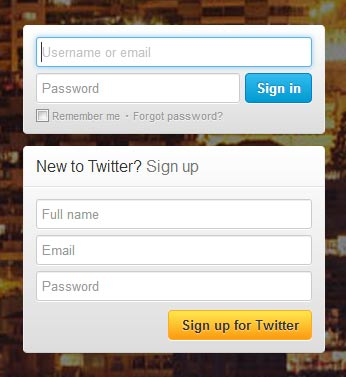 signup form twitter